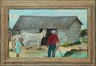 """Billie Stroud (1919-2010, Louisiana), """"The Horse Barn,"""""""