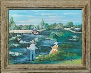 """Billie Stroud (1919-2010, Louisiana), """"Fishing on the"""