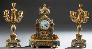 Three Piece French Louis XVI Style Gilt Bronze and Gray