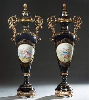 Large Pair of Sevres Style Ormolu Mounted Covered