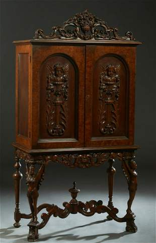 American Carved Walnut Dining Room Cabinet, 20th c.,