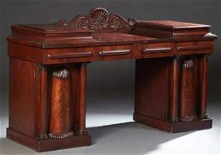 American William IV Carved Mahogany Double Pedestal