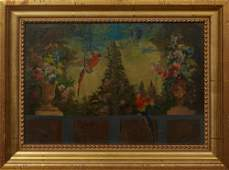 """Continental School, """"Macaws in the Garden,"""" early 20th"""