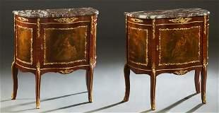 Pair of Louis XV Style Ormolu Mounted Mahogany Marble
