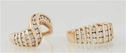 Two Vintage Yellow Gold Lady's Dinner Rings, one 14K
