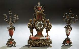 Three Piece Louis XV Style Gilt Brass and Rouge Marble