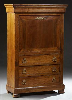 French Louis Philippe Carved Walnut Secretary Abattant,