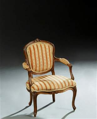 French Child's Louis XV Style Carved Walnut Fauteuil,