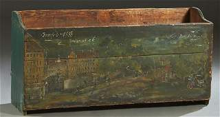 European Painted Pine Open Kindling Box, 19th c., one