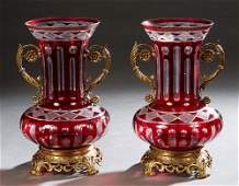 Pair of Brass Ormolu Mounted Ruby Cut-to-Clear Glass