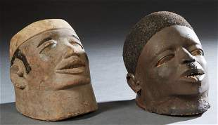 Two African Makonde Carved Wood Helmet Masks With Hair,