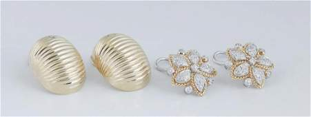 Two Pair of 18K Gold Clip Earrings, consisting of a