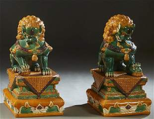 Pair of Large Chinese Glazed Terra Cotta Foo Dogs on