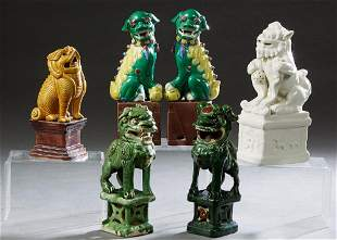 Group of Six Glazed Foo Lion Figures on Plinths,