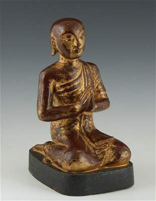 Polychromed and Giltwood Seated Buddha at Prayer, late