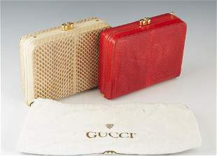 Two Vintage Gucci Box Python Handbags, one died red and