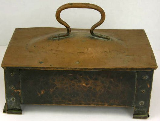 4: Arts and Crafts Hand Hammered Lidded Copper Box, c.