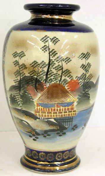 9: Japanese Cobalt Baluster Satsuma Vase, c. 1900, the