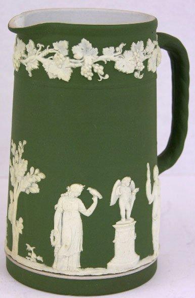 13: Wedgwood Green Jasperware Pitcher, c. 1900, with re
