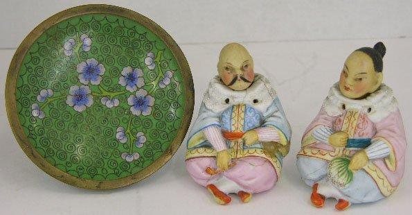 17: Pair of Chinese Polychromed Porcelain Nodder Figure