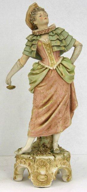 24: Royal Dux Figure, c. 1900, of an Elizabethan Lady,