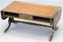 469A Inlaid Carved Mahogany Drop Leaf Coffee Table c