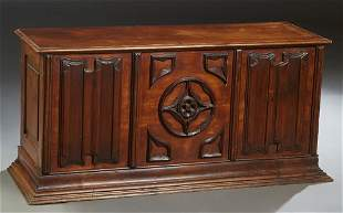 French Provincial Carved Mahogany Coffer, 20th c.,