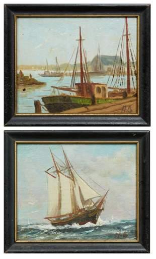"American School, ""Harbor Scene,"" and ""Ship in Full"