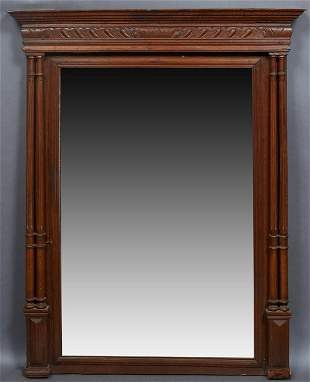 French Henri II Style Carved Oak Overmantel Mirror, c.