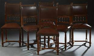 Set of Six French Henri II Style Carved Walnut Dining