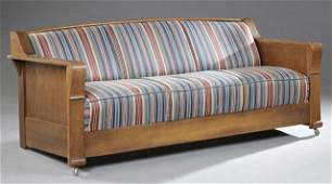 American Mission Carved Oak Settee, early 20th c., the