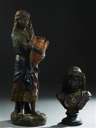 Two Polychromed Black Figures, early 20th c., one a