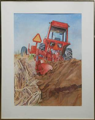 """Susan Rountree (American), """"Renewal, Red Tractor,"""" 20th"""