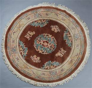 Chinese Style Textured Circular Carpet, with long