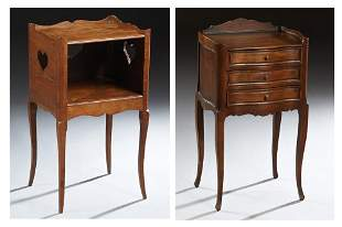Two French Louis XV Style Carved Nightstands, 20th c.,
