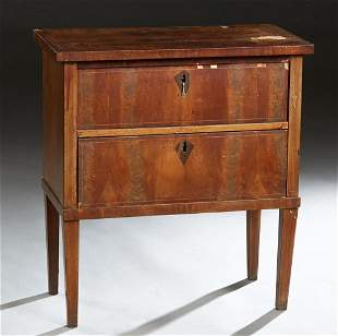 Diminutive Biedermeier Style Carved Inlaid Mahogany