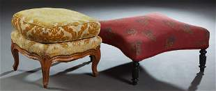 Two French Stools, one Louis XV Style Carved Walnut
