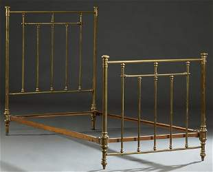 Continental Highback Single Brass Bed, c. 1900, with