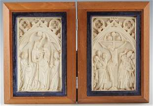 Continental Molded Composition Diptych, 20th c., one