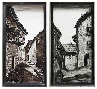 """Monage (Spanish), """"Basque Village,"""" 20th c., pair of"""
