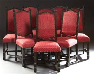 Set of Eight Spanish Carved Oak Upholstered Dining
