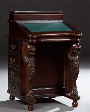 Indonesian Carved Mahogany Davenport Desk, 20th c., the