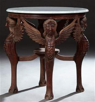 French Style Carved Mahogany Marble Top Center Table,