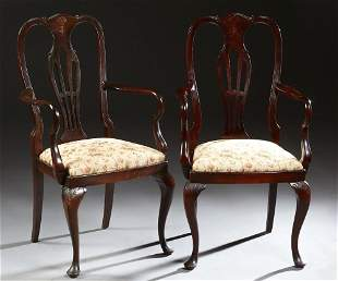Pair of English Carved Mahogany Queen Anne Style