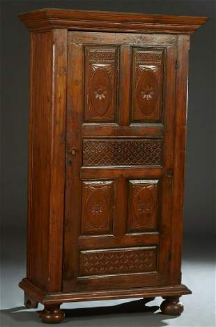 Indonesian Carved Mahogany Armoire, 20th c., the