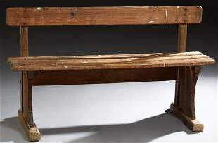 Diminutive French Provincial Carved Pine Garden Bench,