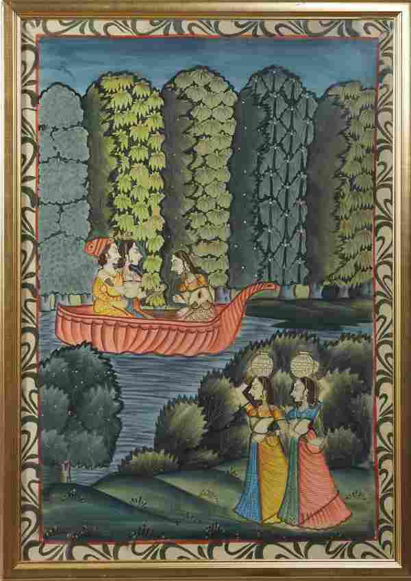 """Indian School, """"Figures in a Boat on the River,"""" 20th"""