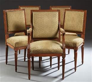 Set of Six (5 +1) French Louis XVI Style Carved Walnut