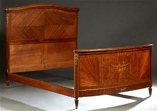 French Louis XVI Style Inlaid Mahogany Double Bed,
