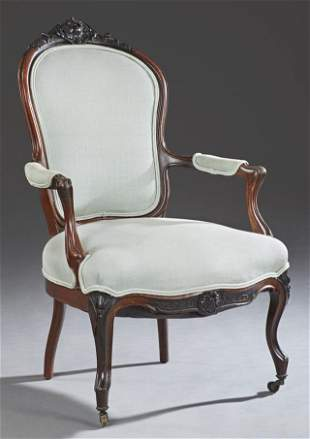 American Louis XV Style Carved Walnut Fauteuil, 19th